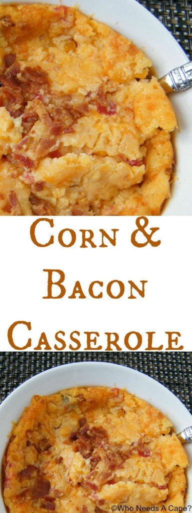 Corn & Bacon Casserole is a deliciously easy side dish that is perfect for the holiday season. Great for big crowds, you can simply increase the quantity.