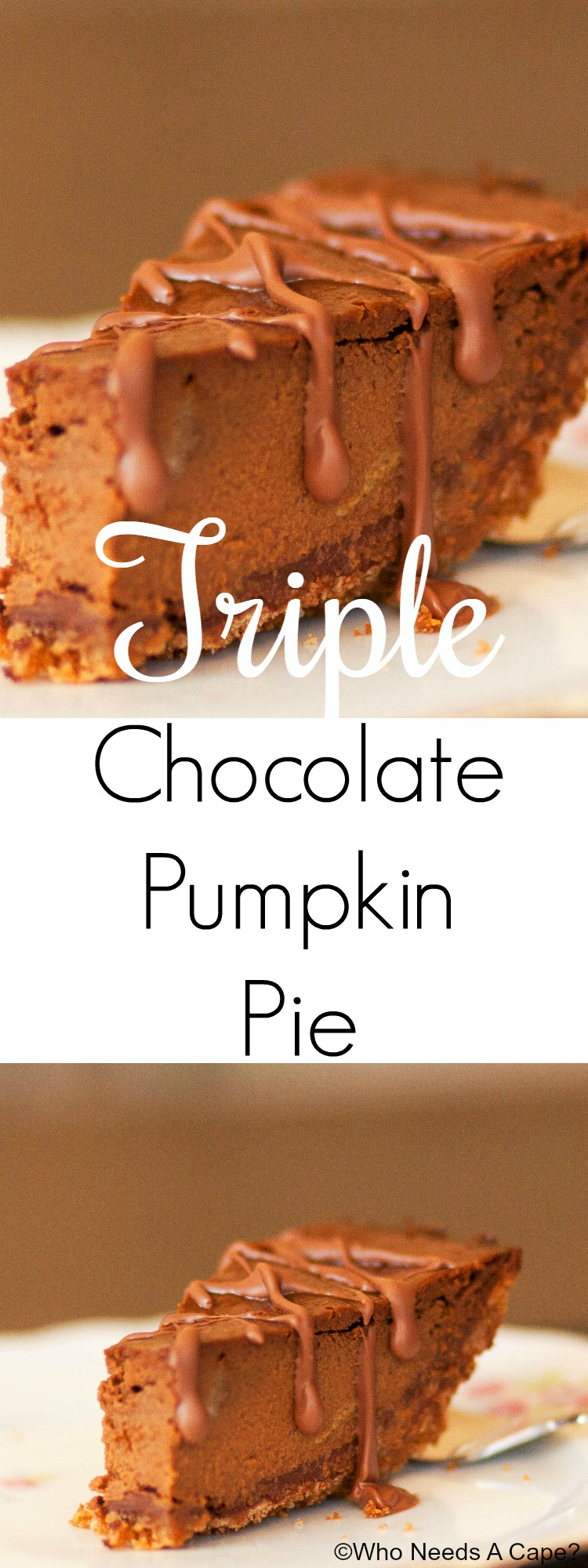 This Triple Chocolate Pumpkin Pie is beyond delicious! You'll love the flavor combinations! The perfect dessert for holiday gatherings and parties.