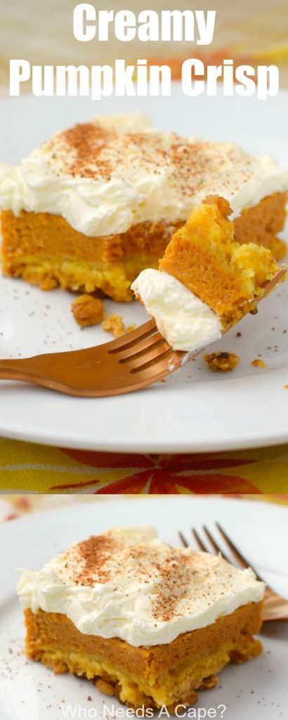 Creamy Pumpkin Crisp, a delicious dessert change from traditional pumpkin pie. Serve at Thanksgiving or Christmas, you'll love the layers of flavor.