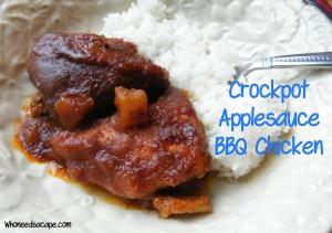Crockpot Applesauce BBQ Chicken | Who Needs A Cape?