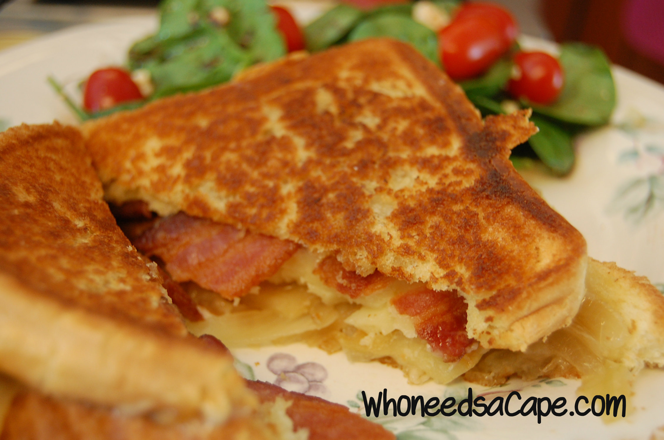 Grilled Cheese with Bacon, Apple, and Onion | Who Needs A Cape?