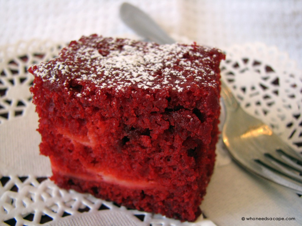 Perfect for the holidays, Red Velvet Squares with Cream Cheese Filling will wow your guests. Great with some fresh whipped cream!
