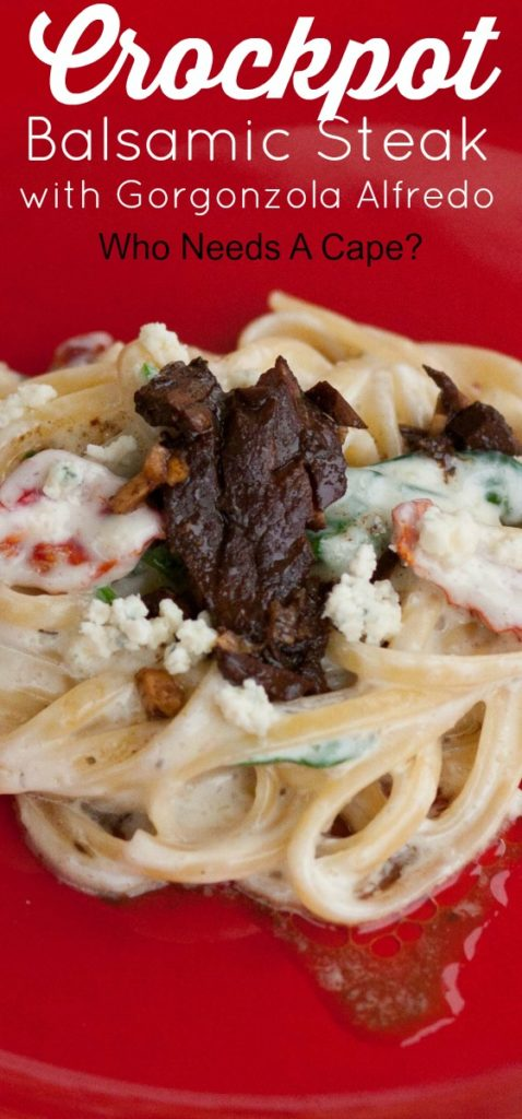 Fancy meal from your slow cooker? Yes indeed! Crockpot Balsamic Steak with Gorgonzola Alfredo isn't your everyday meal...so decadent!