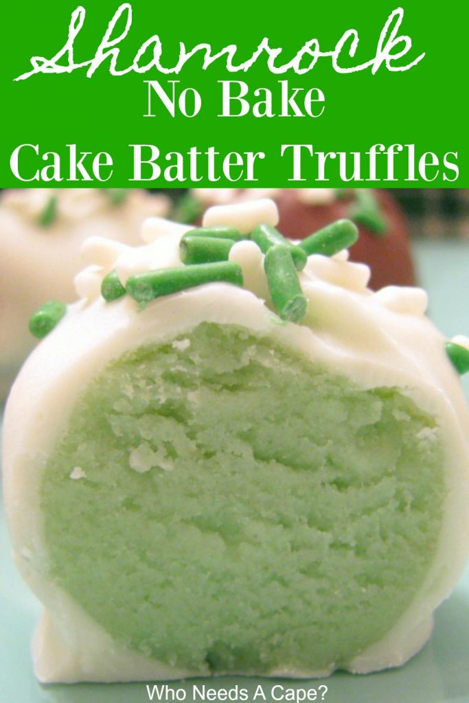 These Shamrock No-Bake Cake Batter Truffles are just perfect for St. Patrick's Day celebrations! Everyone loves these bite-sized no bake balls!