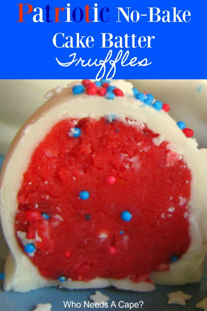 Sliced patriotic no bake cake batter truffle with red inside, white coating and red, white and blue sprinkles