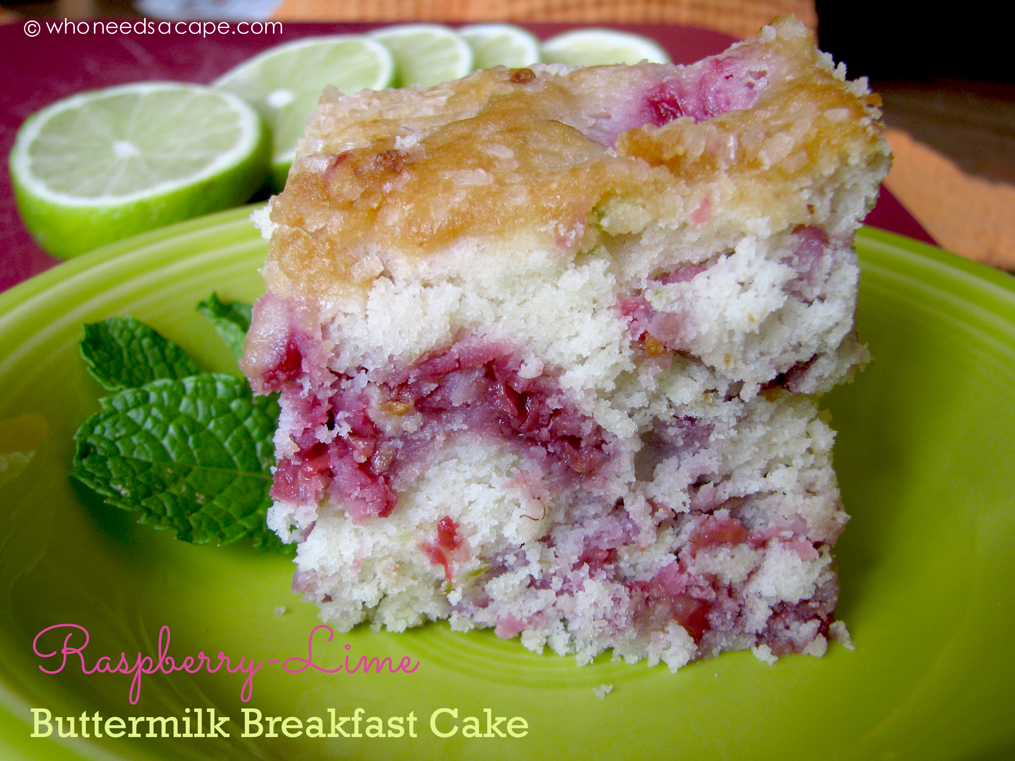 Raspberry-Lime Buttermilk Breakfast Cake