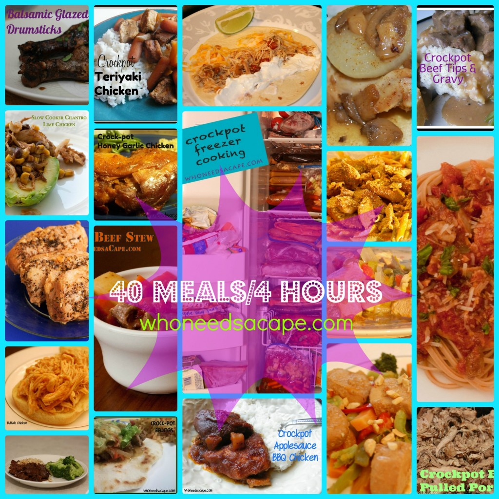 Easy to follow list for making 40 slow cooker ready freezer meals. Come and see the wonderful dinners you can have ready to go in your freezer!