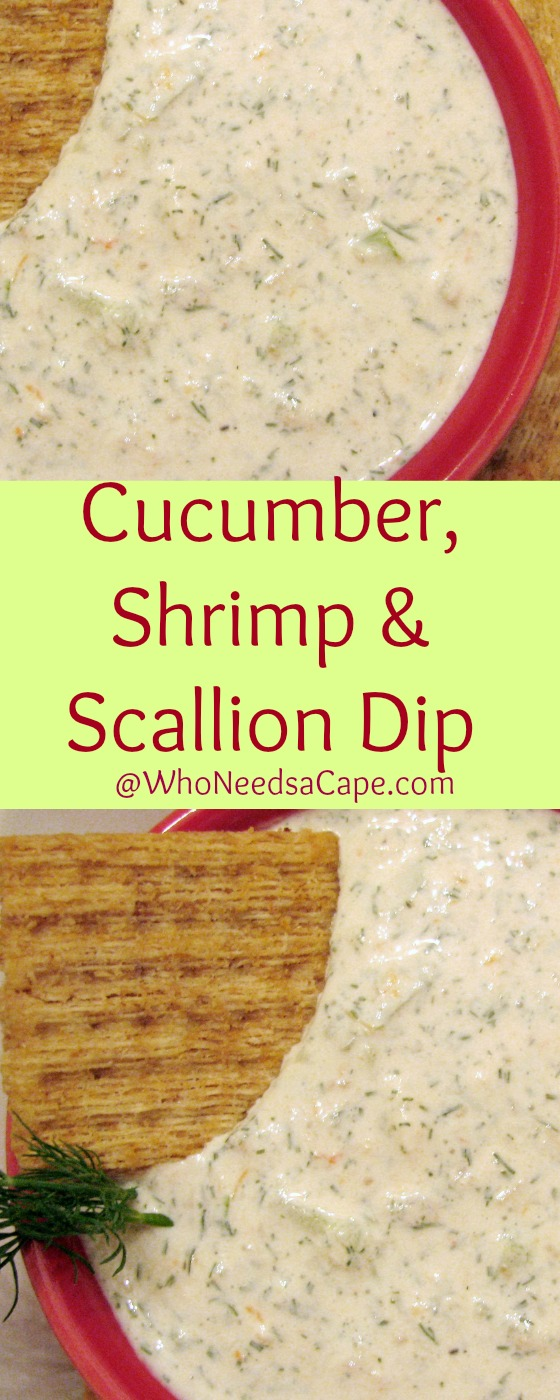 Cucumber, Shrimp & Scallion Dip is a dip you must make. Light and tasty - it's great for any occasion Who Needs a Cape
