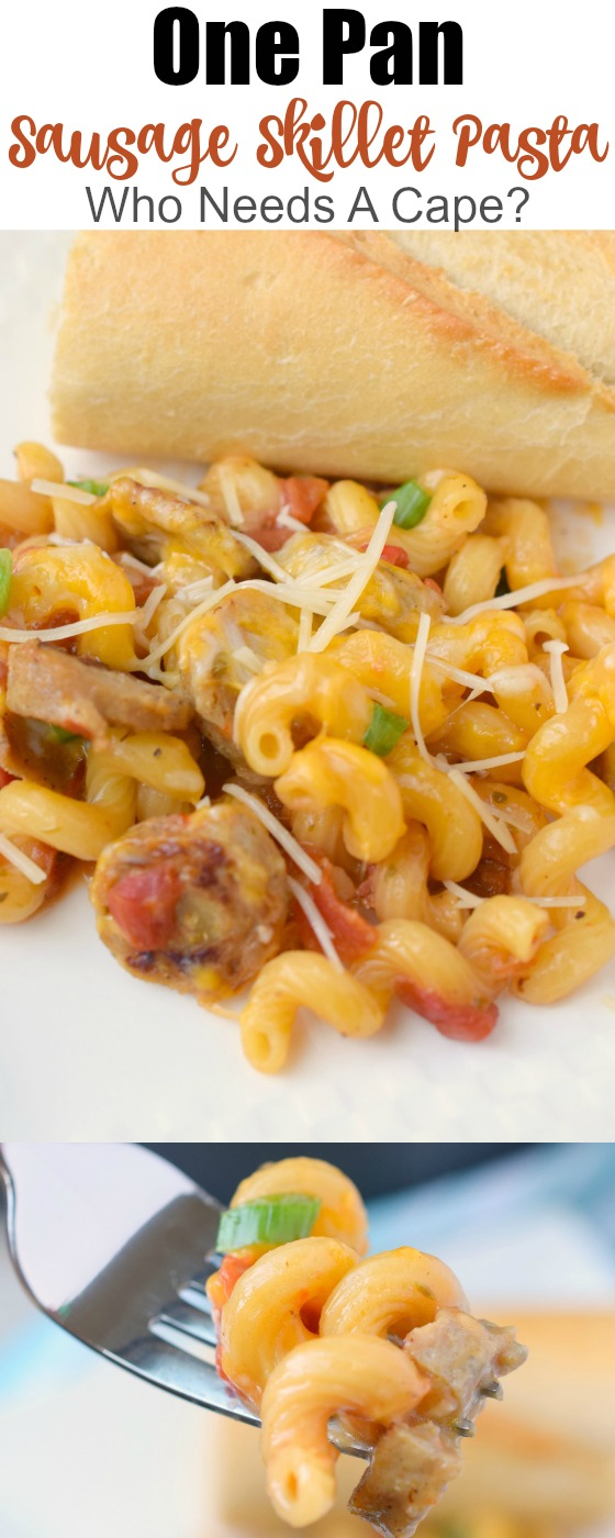 One Pan Sausage Skillet Pasta is a great meal for busy nights! Full of great flavors, you'll love this easy dinner that's a family favorite!