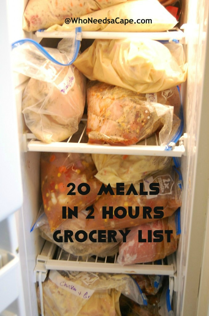 Jumping into freezer meals? Then you need the 20 Meals in 2 Hours Shopping List, detailing the ingredients you'll need to fill your freezer!