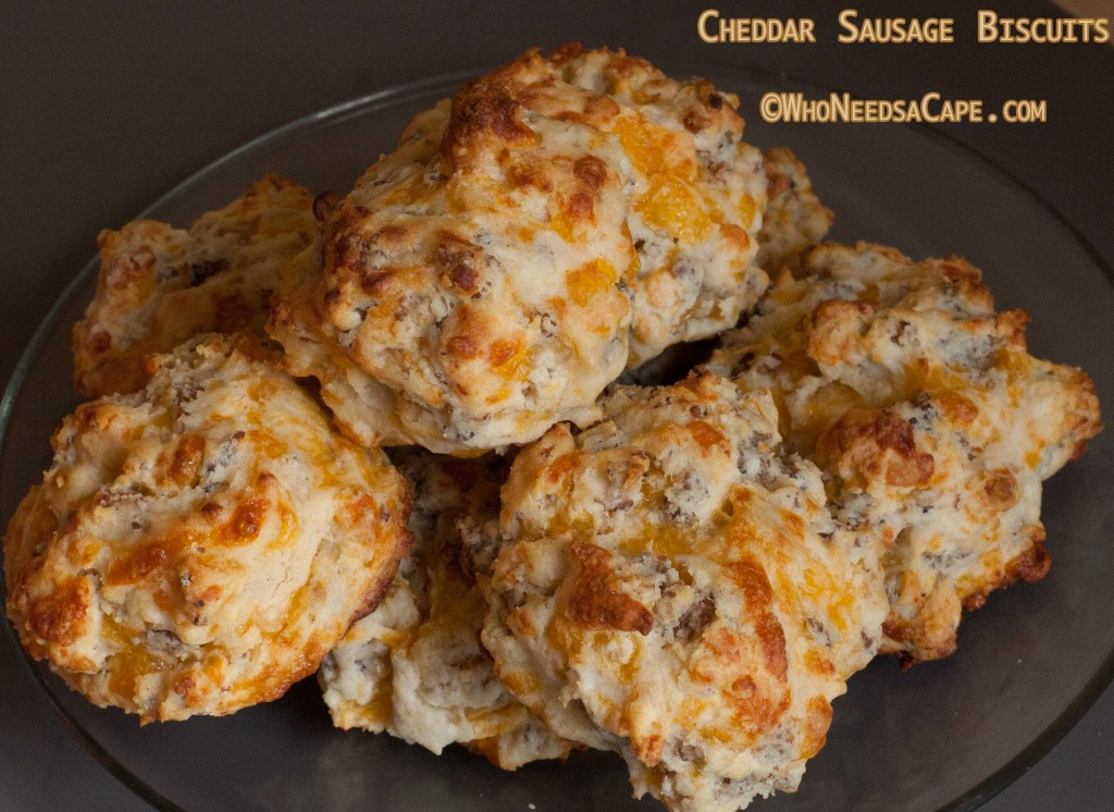 Cheddar Sausage Biscuits - Who Needs A Cape?