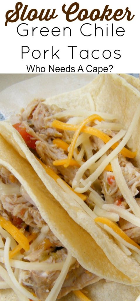 These Slow Cooker Green Chile Pork Tacos are a family favorite! Easy to prepare in your slow cooker! Leftovers can be used for nachos or burritos too.