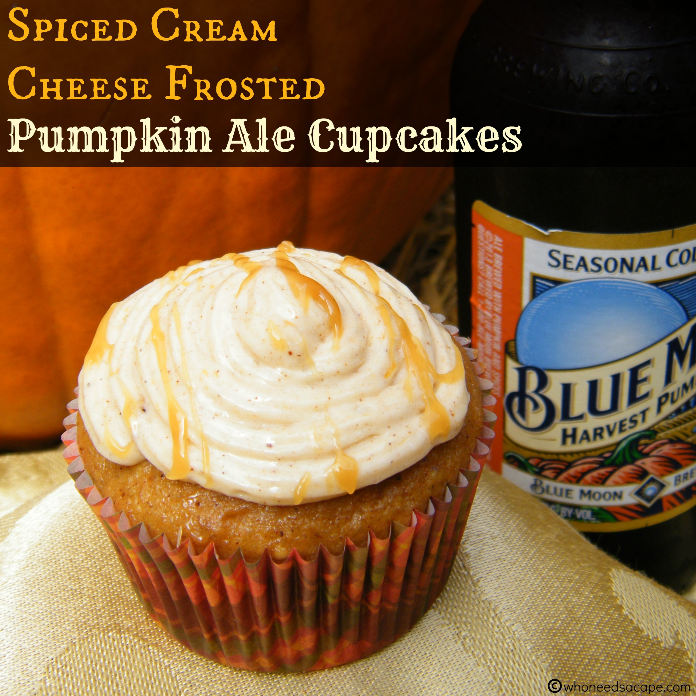 Spiced Cream Cheese Frosted Pumpkin Ale Cupcakes - Who Needs A Cape?