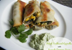 Baked Southwest Eggrolls with Avocado Dipping Sauce