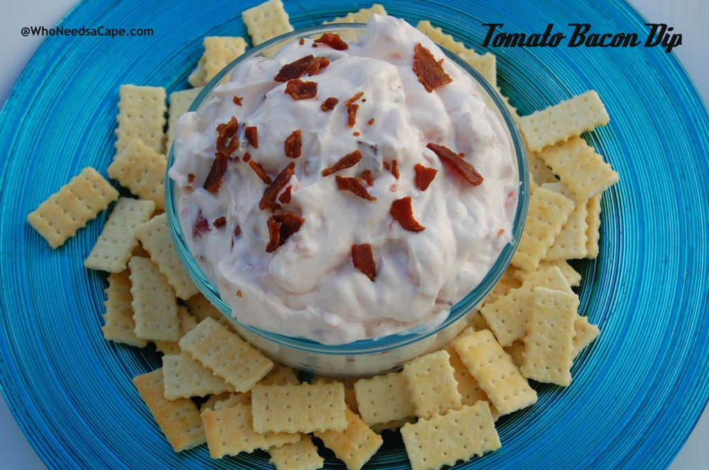 Delish tasting and so easy! Tomato Bacon Dip is a great flavor combo and everyone will love it! Great for tailgating and Super Bowl feasts!