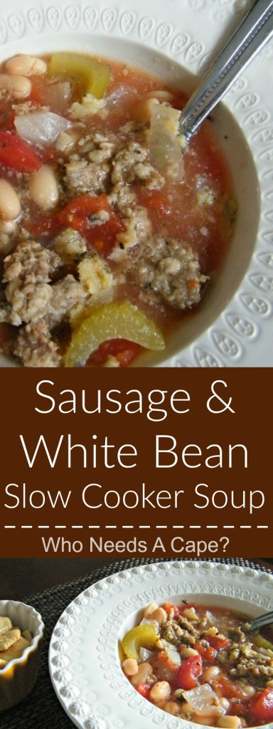 Sausage & White Bean Slow Cooker Soup is a hearty yet oh so simple soup. Part of the 7 Meals in 1 Hour post on Who Needs A Cape? | [Who Needs A Cape? | https://whoneedsacape.com]