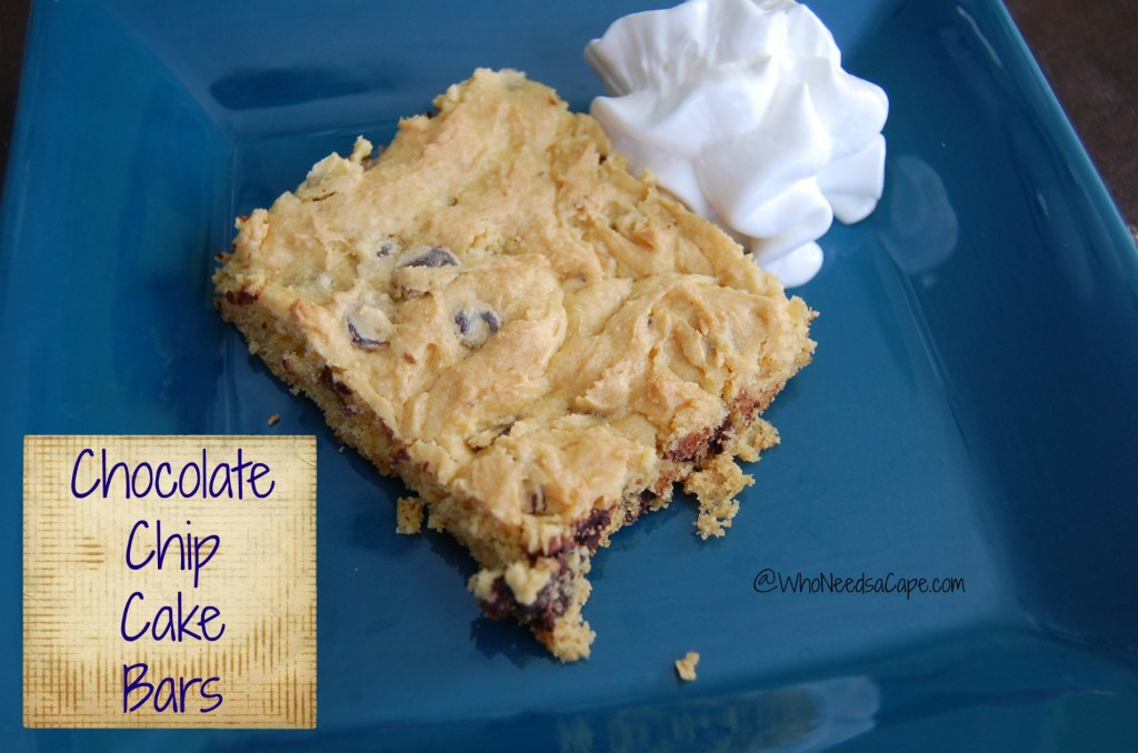 These chocolate chip cake bars are an easy dessert to make. Total time including baking is 30 minutes, dessert in a jiffy, gotta love that!
