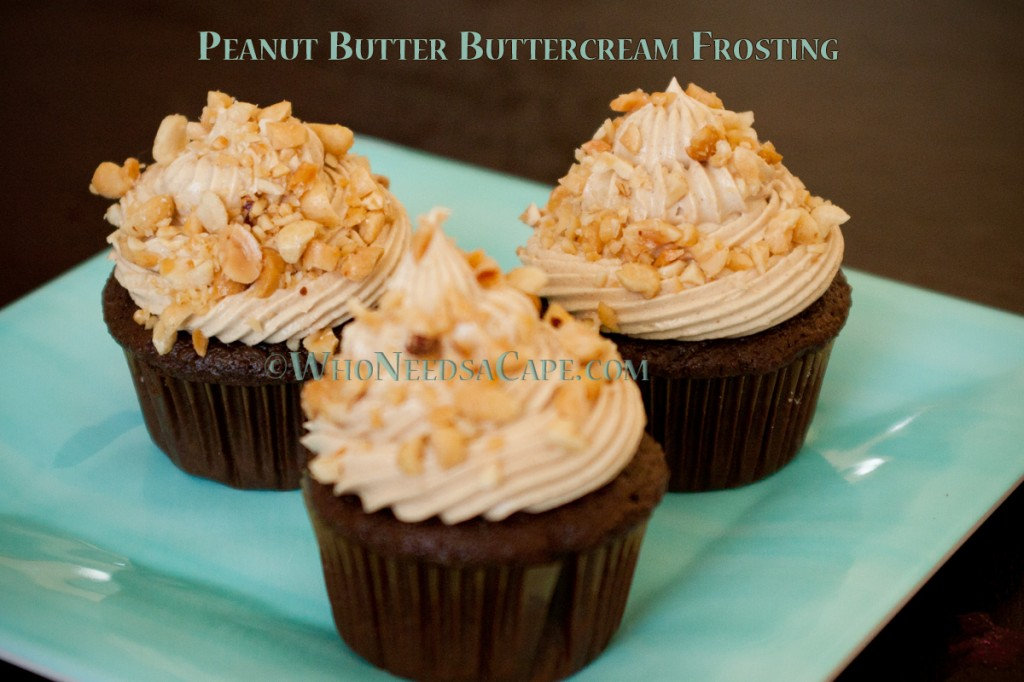 Peanut Butter Buttercream Frosting is perfect the peanut butter lover in you! Great on a chocolate cupcake or a very indulgent cake!