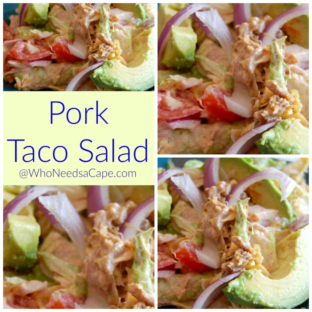 Use your slow cooker Green Chili Pork 2 ways, make Pork Taco Salad with the left over meat to change up dinner! It's a great quick tasty meal!