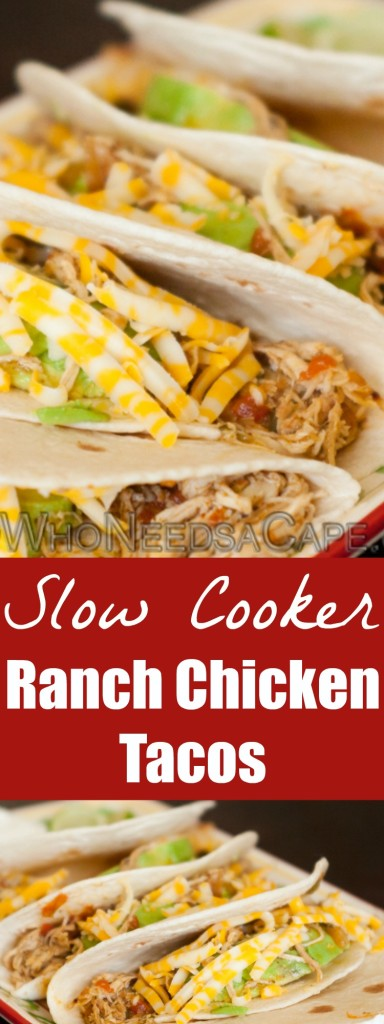 Slow Cooker Ranch Chicken Tacos is part of our 40 Meals in 4 Hours and is a great family meal that can be made in advance for a delicious dinner. | Who Needs A Cape?