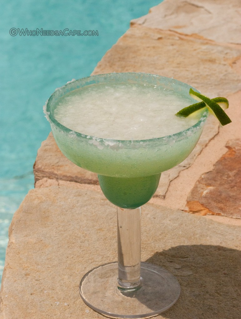 A perfect summer drink made simple, is Who Needs a Cape's Frozen Margarita. Make one up this summer and enjoy it by the pool!