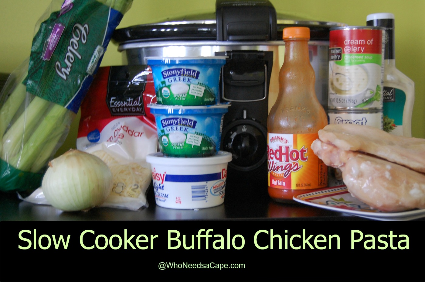 Slow Cooker Buffalo Chicken Pasta - Who Needs A Cape?