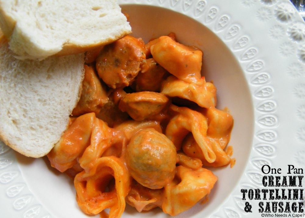 One Pan Creamy Tortellini & Sausage | Who Needs A Cape? #onepanmeals #30minutemeals #tortellini #sausage #easydinner