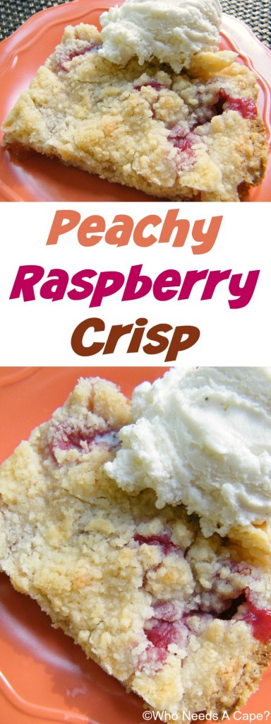Peachy Raspberry Crisp is a fabulous summer dessert! Simple to throw together, you'll enjoy with whipped cream or ice cream for a fruity treat.