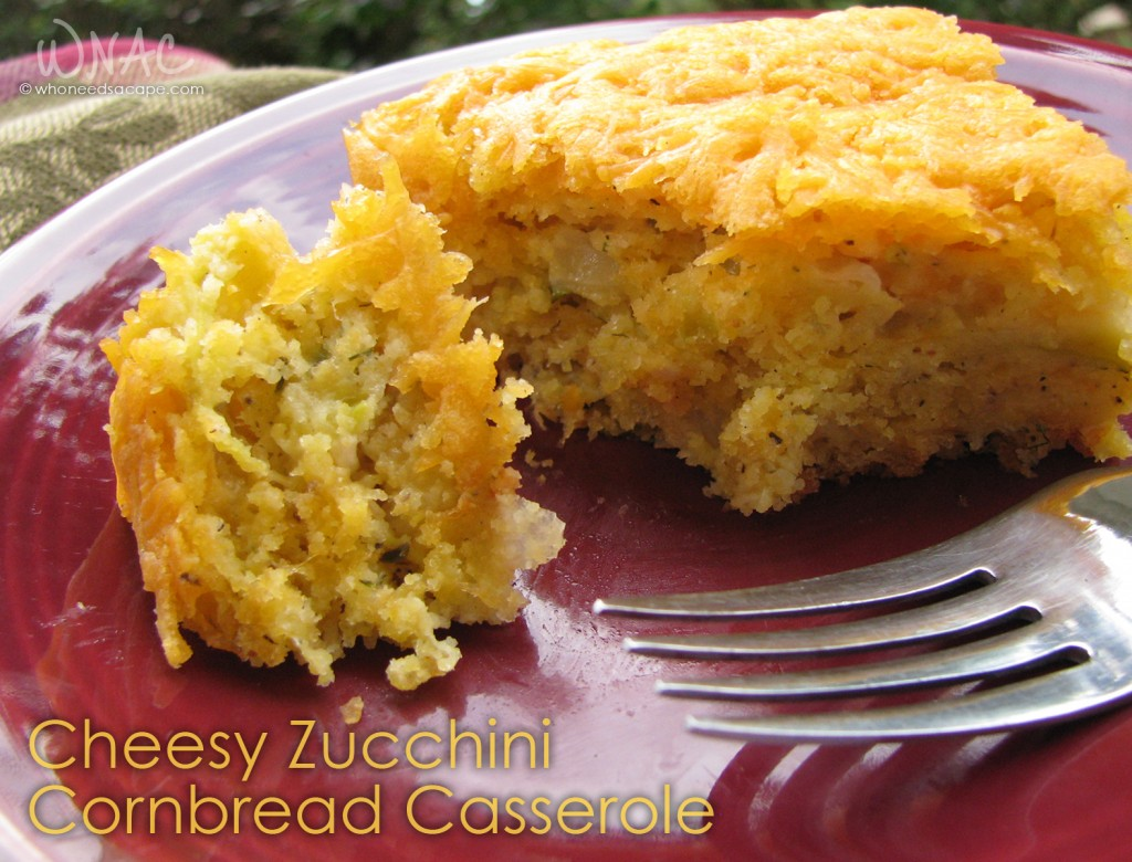 Cheesy Zucchini Cornbread Casserole ~ Great way to use your zucchini and spruce up any meal! This will be a new family favorite, trust me!