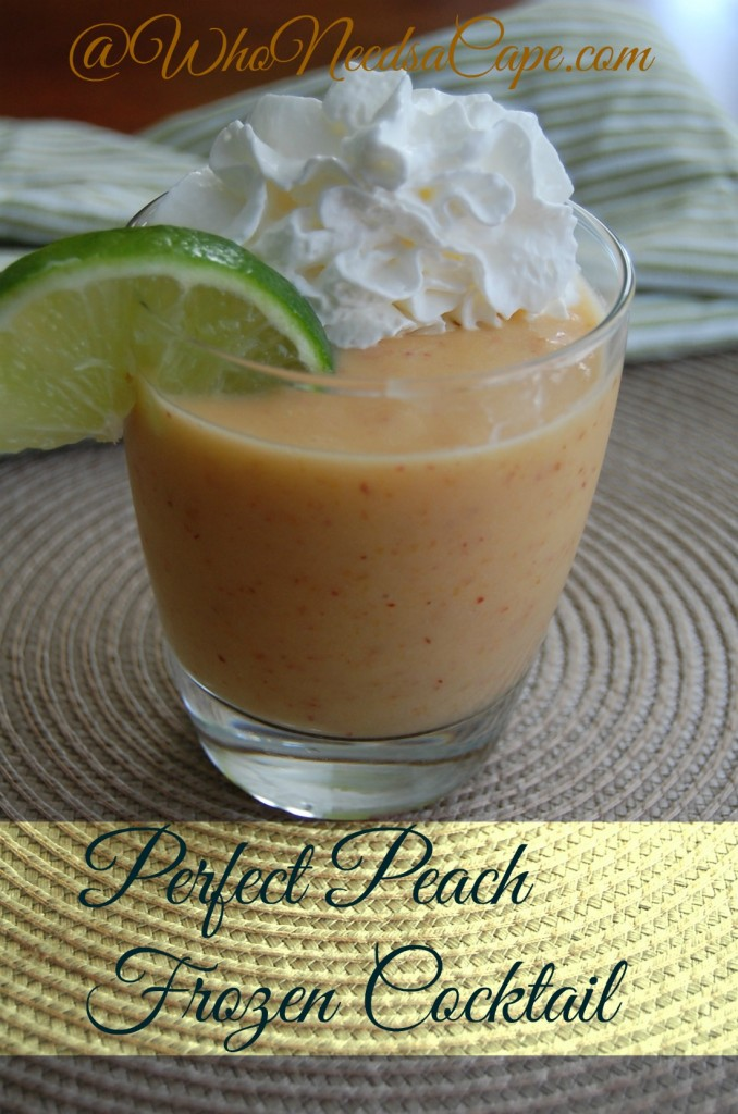Enjoy the Perfect Peach Frozen Cocktail - it's easy and simple to make - without using mixers! Mix one of these up today!!!
