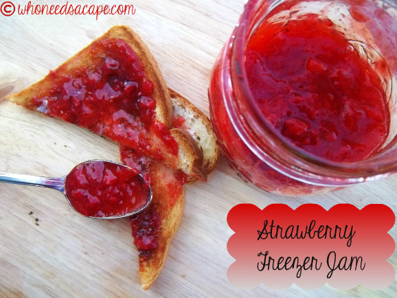 Strawberry Freezer Jam is the simplest easiest way to start canning your own jam. Tastes great all year long! So easy even the kids can help make it.