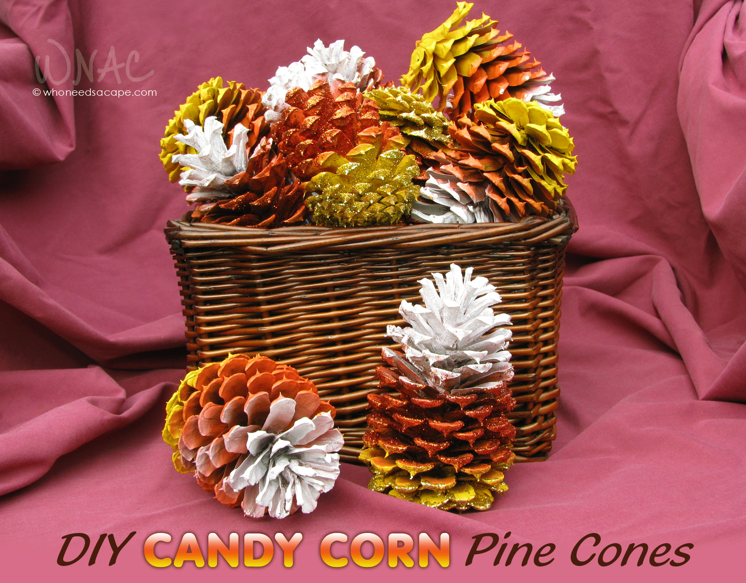 diy candy corn pine cones who needs a cape. Black Bedroom Furniture Sets. Home Design Ideas