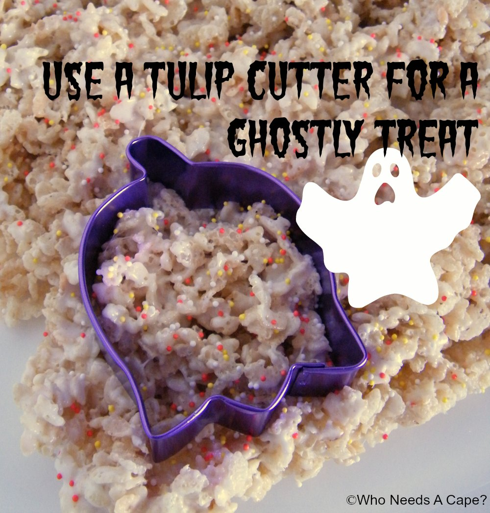ghost shaped halloween rice krispie treats who needs a cape