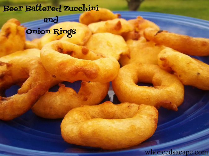 Beer Battered Zucchini & Onion Rings at home, yes you can do this! Delicious and easy to prepare, you'll love pairing these with a juicy steak!
