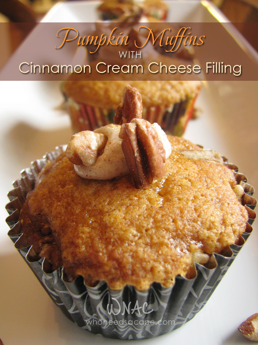 Pumpkin Muffins with Cinnamon Cream Cheese Filling