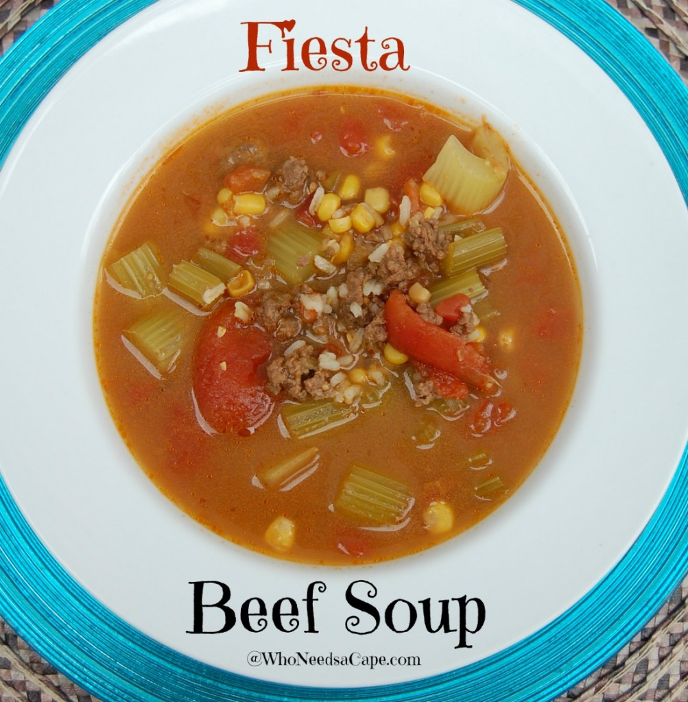 Let Fiesta Beef Soup warm you up with it's delicious spices! An easy to prepare dinner that's family friendly and flavor-loaded!