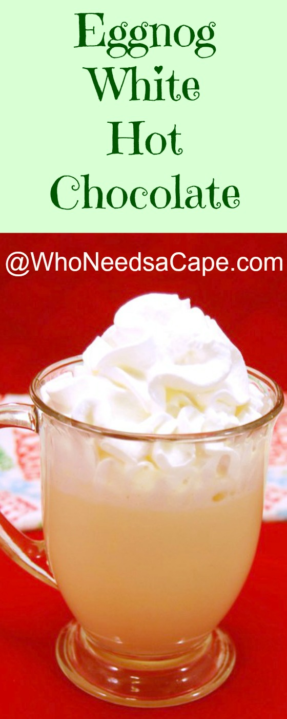 Boozy Eggnog White Hot Chocolate is a great holiday beverage. Make it for Christmas, a cold winter day, or as a special drink!