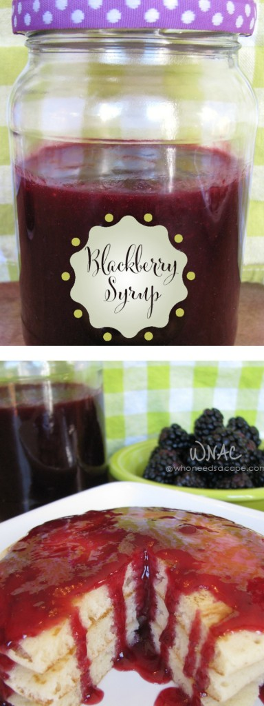 Homemade Blackberry Syrup is an easy way to turn berries into a smooth syrup, perfect to jazz up any pancake or waffle even ice cream. | Who Needs A Cape?