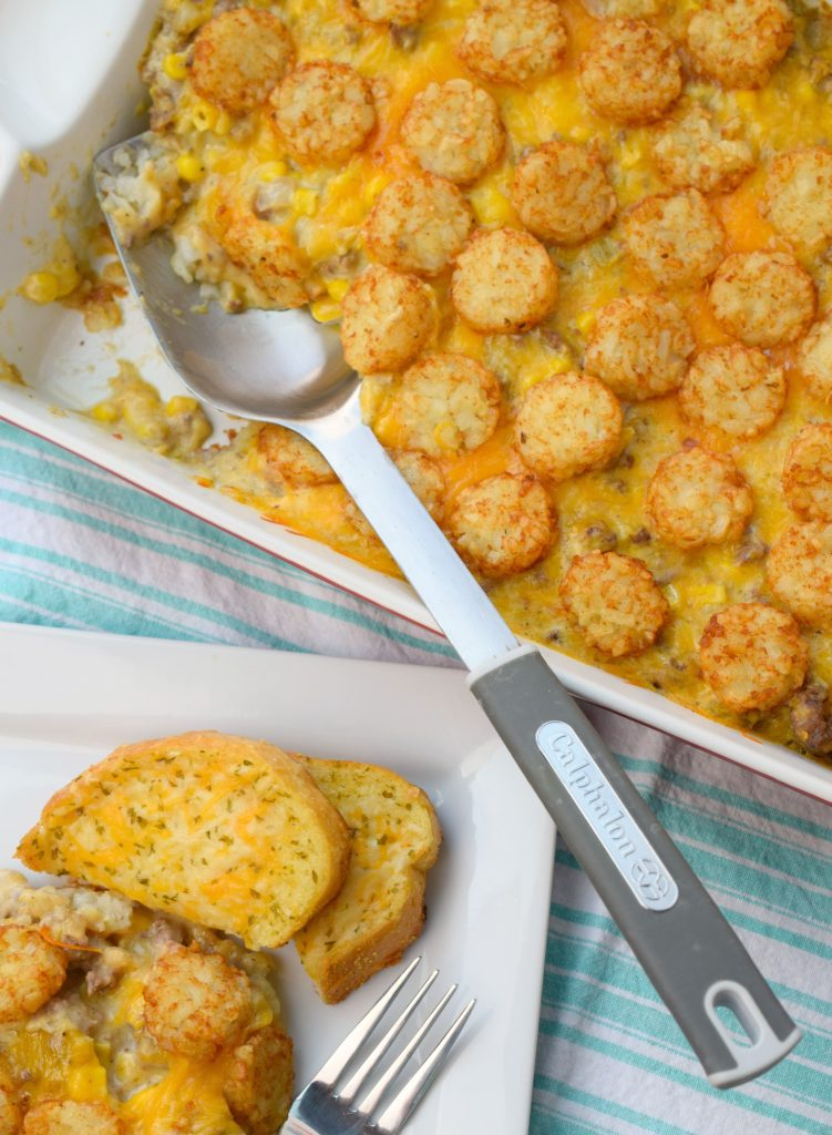 This Beefy Country Potato Casserole is a hearty dish at the entire family will enjoy! With cheese, potatoes, beef, and corn what's not to love?