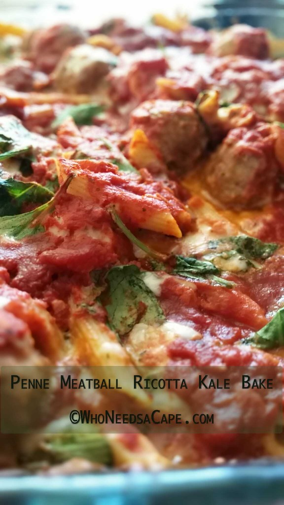 A quick meal, Penne Meatball Ricotta Kale Bake is a must for your family to try. If you are looking for a good meal to freeze, this is it!