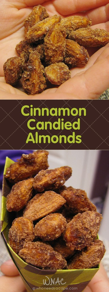 Cinnamon Candied Almonds ~ Enjoy this cinnamony finger food that's great for the holiday season. Whip 'em out for movie night or slip into lunchboxes.