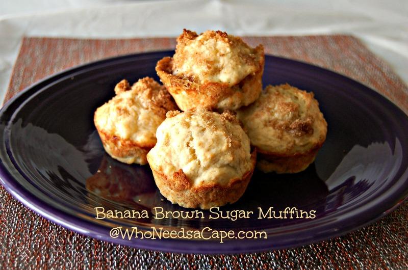 Banana Brown Sugar Muffins   Who Needs A Cape?