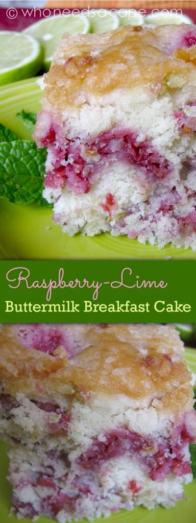 You're just gonna love this Raspberry-Lime Buttermilk Breakfast Cake! Whether for breakfast or dessert this is a treat, the flavors just pop!