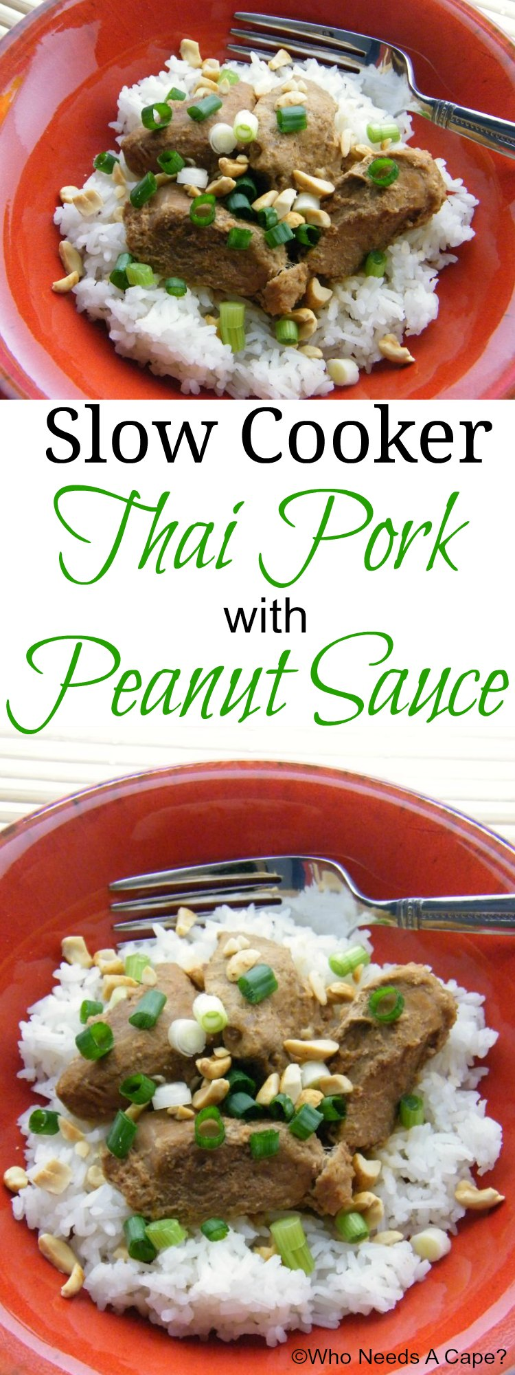 Slow Cooker Thai Pork with Peanut Sauce | Who Needs A Cape?