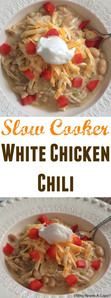Slow Cooker White Chicken Chili is a family favorite at our house! Not to spicy, just the right amount of flavors that blend nicely in your crockpot.
