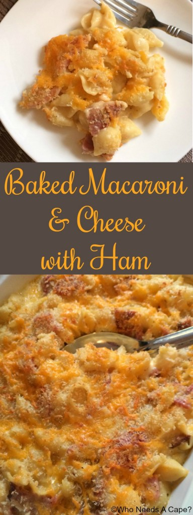Here comes comfort food in the form of Baked Macaroni & Cheese with Ham. Use up that leftover holiday ham and make this home-style cheesy dish.