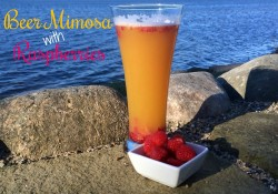 Beer Mimosa with Raspberries