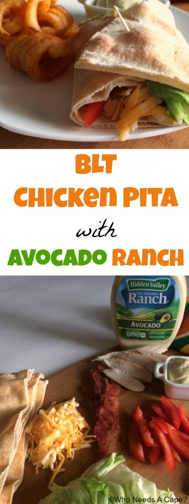 Need a fast meal? Look no further than this BLT Chicken Pita with Avocado Ranch! Use either leftover chicken breast or a store bought rotisserie chicken.