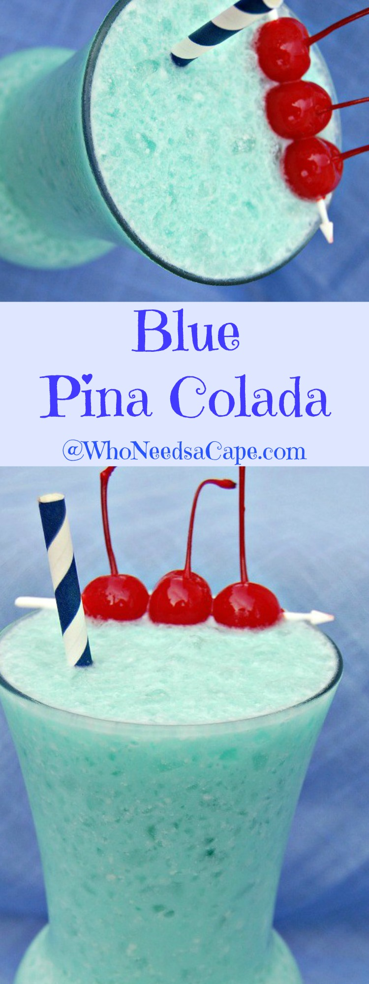 Blue Pina Colada is a great twist on the classic cocktail! Colorful and pretty AND tasty