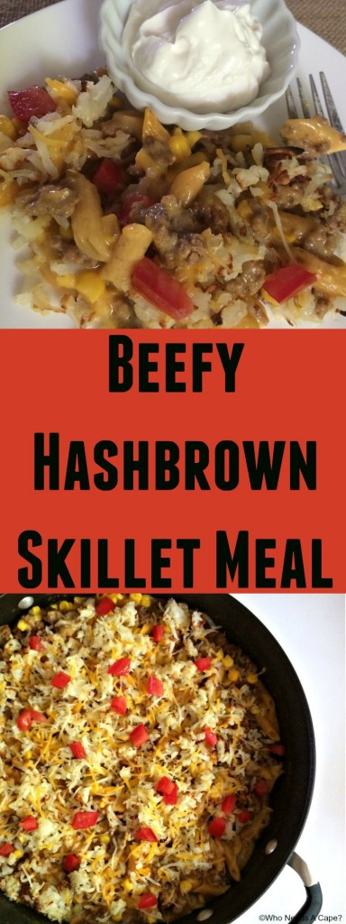 Need an easy yet delicious meal that doesn't take forever to prepare? Try this Beefy Hashbrown Skillet Meal, great for busy weeknight dinner!